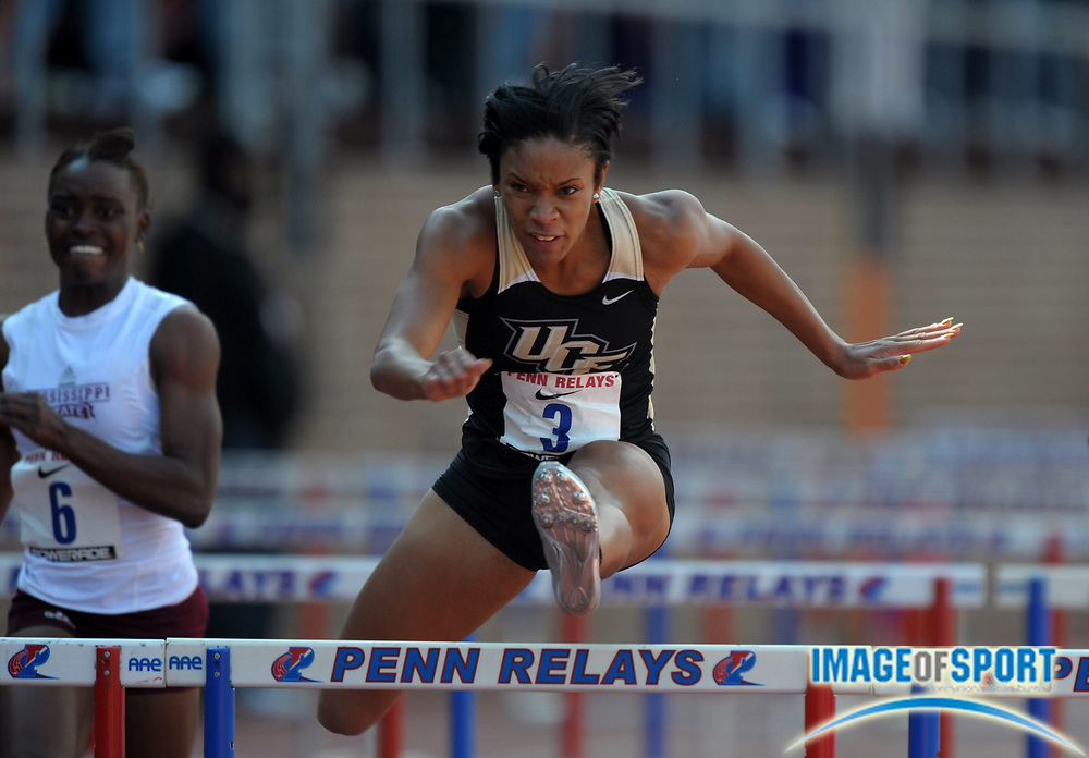 Apr 27, 2012; Philadelphia, PA, USA; Jacquelyn Coward of Central Florida wins womens 100m hurdle heat in 13.25 in the 118th Penn Relays at Franklin Field.