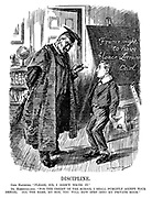 "Disipline. Carl Hapsburg. ""Please, Sir, I didn't write it."" Dr Hohenzollern. ""For the credit of the school I shall publicly accept your denial. All the same, my boy, you will now step into my private room."" (Karl von Hapsburg as a schoolboy writes France Ought To Have Alsace-Lorraine on the blackboard as Wilhelm II prepares to cane him during WW1)"