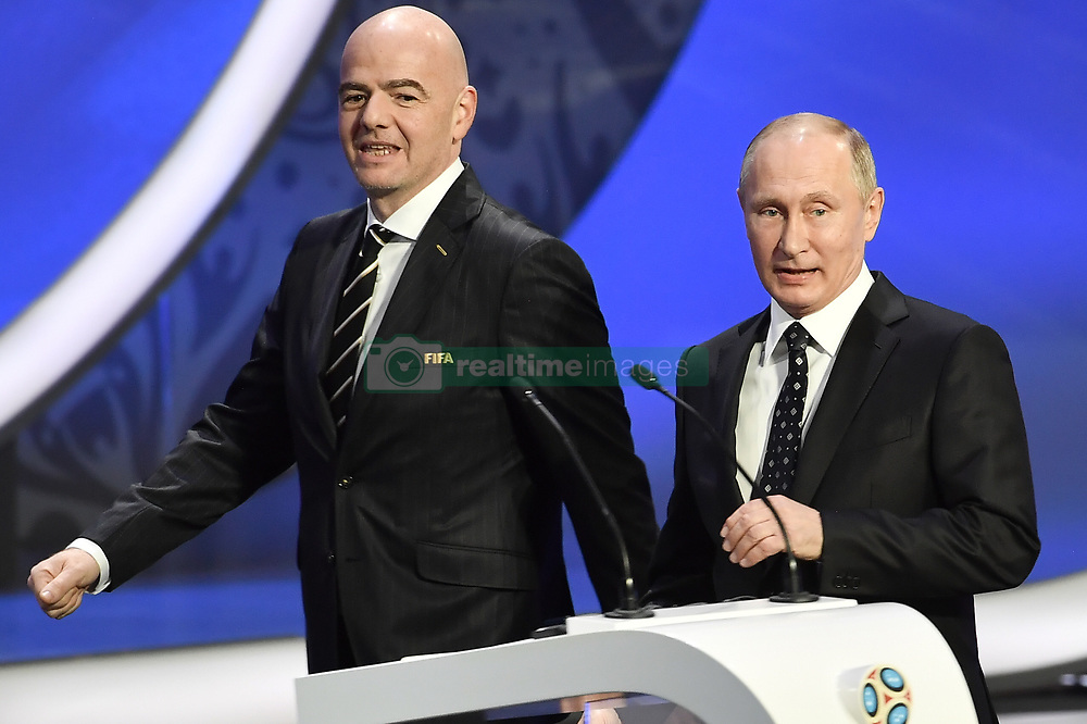 December 1, 2017 - Moscow, RUSSIA - FIFA President GIANNI INFANTINO and Russian President VLADIMIR PUTIN pictured during the draw for the 2018 World Cup soccer in Moscow, with Belgium team in pot one.  (Credit Image: © Dirk Waem/Belga via ZUMA Press)