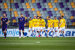 Players of Bravo celebrating first goal during football match between NK Maribor and NK Bravo in 25th Round of Prva liga Telekom Slovenije 2019/20, on March 7, 2020 in Ljudski vrt, Maribor, Slovenia. Photo by Blaž Weindorfer / Sportida