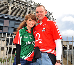 A matching couple...... Mayo Supporter Catherine Deane from Bangor Erris with financee Jeremy Minihane from<br />Skibbereen enjoying the atmosphere at Croke Park.<br />Pic Conor McKeown