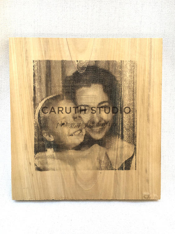 Vintage photo booth image transfer on wood plaque