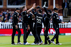 James Neesham of New Zealand celebrates taking the wicket of Eoin Morgan of England - Mandatory by-line: Robbie Stephenson/JMP - 14/07/2019 - CRICKET - Lords - London, England - England v New Zealand - ICC Cricket World Cup 2019 - Final