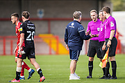 John Yems, Head Coach of Crawley Town FC thanking the officials; Carl Brook (Referee), Andy Bennett (Assistant Referee) & Joseph Stokes (Assistant Referee) following the EFL Sky Bet League 2 match between Crawley Town and Scunthorpe United at The People's Pension Stadium, Crawley, England on 19 September 2020.