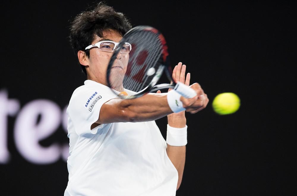 Hyeon Chung of South Korea during the 2018 Australian Open on day 12 in Melbourne, Australia on Friday night January 26, 2018.<br /> (Ben Solomon/Tennis Australia)