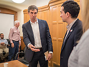 22 AUGUST 2019 - DES MOINES, IOWA: BETO O'ROURKE (D-TX), thanks roundtable participants after a gun safety roundtable he hosted in the Iowa State Capitol in Des Moines. He is back on the campaign trail seeking the Democratic nomination for the US Presidency after pausing his campaign when a white supremacist massacred 22 people in El Paso, TX, O'Rourke's hometown. Iowa traditionally hosts the first selection event of the presidential election cycle. The Iowa Caucuses are Feb. 3, 2020.       PHOTO BY JACK KURTZ