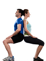 couple doing workout back to back on white isolated background