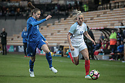 Toni Duggan (England) (Manchester City) runs past Cecilia Salvai (Italy) (Brescia) during the Women's International Friendly match between England Ladies and Italy Women at Vale Park, Burslem, England on 7 April 2017. Photo by Mark P Doherty.