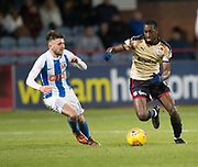 18th November 2017, Dens Park, Dundee, Scotland; Scottish Premier League football, Dundee versus Kilmarnock; Dundee's Glen Kamara runs at Kilmarnock's Greg Taylor