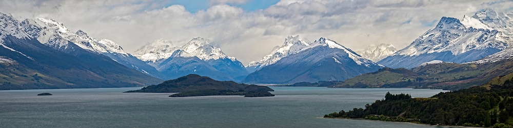 A 12x48-inch panoramic image the view of Lake Wakatipu from Bennett's Bluff, halfway between Queenstown and Glenorchy, on the South Island of New Zealand.