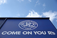 the New QPR Crest is seen outside Loftus Road before k/o. Skybet EFL championship match, Queens Park Rangers v Leeds United at Loftus Road Stadium in London on Sunday 7th August 2016.<br /> pic by John Patrick Fletcher, Andrew Orchard sports photography.