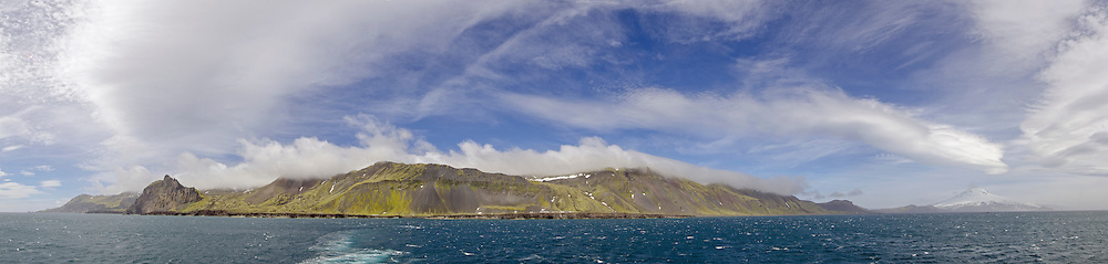 Panorama of Jan Mayen and Beerenberg, 7470 ft glacier covered volcano in the North Atlantic, Norway. The northern most active volcano in the world.