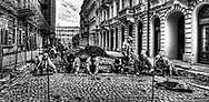 Restoring the cobble stones in Warsaw
