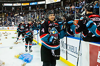 KELOWNA, CANADA - DECEMBER 1:  Devin Steffler #4, Ethan Ernst #19 and Ted Brennan #10 of the Kelowna Rockets fist bump the bench after a second period goal triggering the annual teddy bear toss against the Saskatoon Blades on December 1, 2018 at Prospera Place in Kelowna, British Columbia, Canada.  (Photo by Marissa Baecker/Shoot the Breeze)