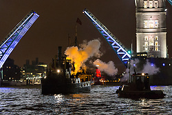 © Licensed to London News Pictures. 14/09/2013. London, UK. Historic vessels take part in 1513:A Ships' Opera in front of Tower Bridge on the River Thames in London. The performance is part of the 2013 Thames Festival and has been arranged by artists Richard Wilson and Zatorski + Zatorski and uses the ships instruments to symbolise lost voices on the Thames calling out across the river and combining old with new. Photo credit: Vickie Flores/LNP