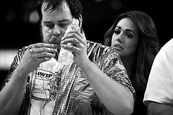 Competitive eater and 2015 winner Patrick Bertoletti participates in Wing Bowl XXIV, is seen here on stage during the February 5, 2016 chicken wing eating contest at the Wells Fargo Center in Philadelphia, PA.