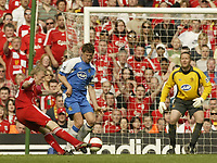 Photo: Aidan Ellis.<br /> Liverpool v Wigan Athletic. The Barclays Premiership. 21/04/2007.<br /> Liverpool's Dirk Kuyt scores the second