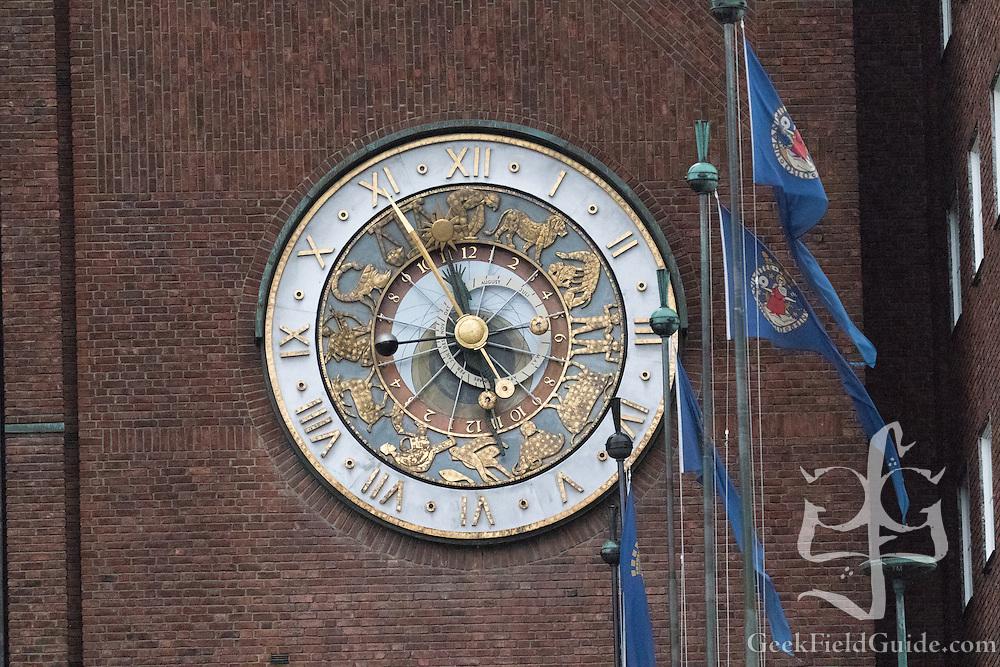 Zodiac-Themed Clock on Oslo City Hall