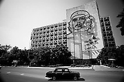 "America, Cuba, Havana. Plaza de la Revolución, in Havana, Cuba. Aside the Ministry of the Interior building where Guevara once worked, is a 5 story steel outline of his face. Under the image is Guevara's motto, the Spanish phrase: ""Hasta la Victoria Siempre.  -08.07.2008, DIGITAL PHOTO, 49 MB, copyright: Alex Espinosa/Gruppe28."