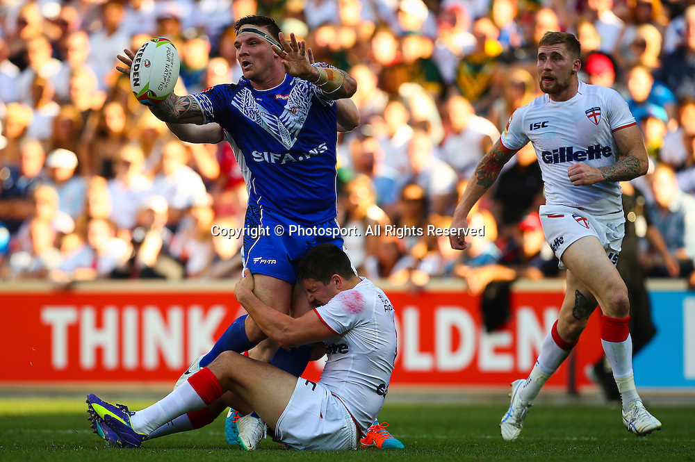 Josh McGuire gets a pass away during the Four Nations test match between England and Samoa at Suncorp Stadium,  Brisbane Australia on October 18, 2014.