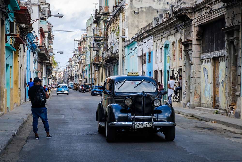 HAVANA, CUBA - CIRCA MARCH 2017: Old car, taxi in the streets of Havana.