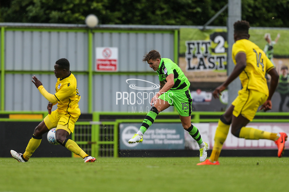 Forest Green Rovers Charlie Cooper(15) shoots at goal during the Pre-Season Friendly match between Forest Green Rovers and Bristol Rovers at the New Lawn, Forest Green, United Kingdom on 22 July 2017. Photo by Shane Healey.