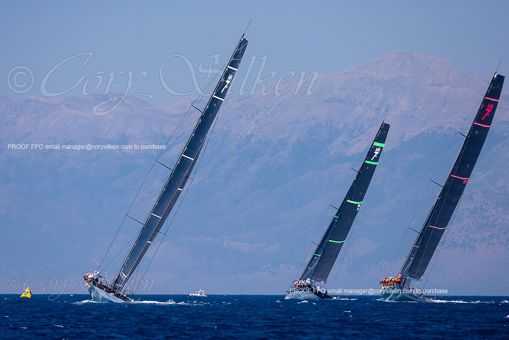 Cannonball, Bella Mente, and Momo sailing in the  Corfu Challenge, day four.
