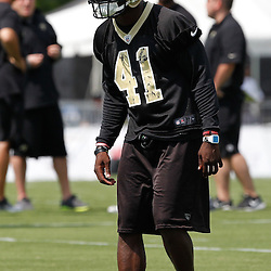 June 5, 2012; Metairie, LA, USA; New Orleans Saints safety Roman Harper (41) during a minicamp session at the team's practice facility. Mandatory Credit: Derick E. Hingle-US PRESSWIRE