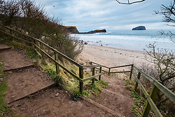 Steps leading down to Seacliff Beach in East Lothian , Scotland, United Kingdom
