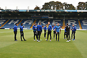Scunthorpe United players on the pitch before the EFL Sky Bet League 1 match between Bury and Scunthorpe United at the JD Stadium, Bury, England on 1 October 2016. Photo by Mark Pollitt.