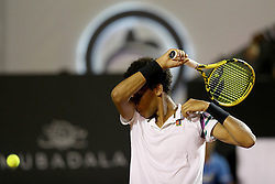 RIO DE JANEIRO, Feb. 24, 2019  Felix Auger-Aliassime of Canada reacts during the men's singles semifinal between Felix Auger-Aliassime of Canada and Pablo Cuevas of Uruguay at the Rio open 2019 tournament in Rio de Janeiro, Brazil, on Feb. 23, 2019. (Credit Image: © Xinhua via ZUMA Wire)