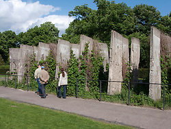 Rows of original segments of Berlin Wall at new Berlin Wall Memorial site on Bernauer Strasse in Berlin Germany