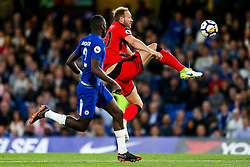 Laurent Depoitre of Huddersfield Town controls the ball and goes on to score a goal to give his side a crucial 0-1 lead in the Premier League survival race - Rogan/JMP - 09/05/2018 - FOOTBALL - Stamford Bridge - London, England - Chelsea v Huddersfield Town - Premier League.