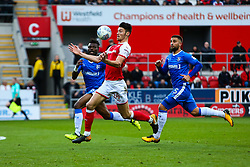 Kieffer Moore of Rotherham United controls the ball with his chest - Mandatory by-line: Ryan Crockett/JMP - 28/10/2017 - FOOTBALL - Aesseal New York Stadium - Rotherham, England - Rotherham United v Gillingham - Sky Bet League One