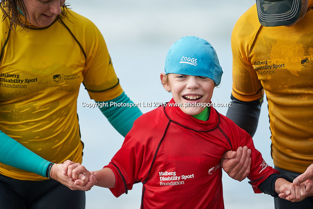 Liam emerges from his surf at the Flight Centre Foundation Halberg Surf Day, Lyall Bay, Wellington, New Zealand. Saturday 12 March 2016. Copyright Photo: Mark Tantrum/www.Photosport.co.nz