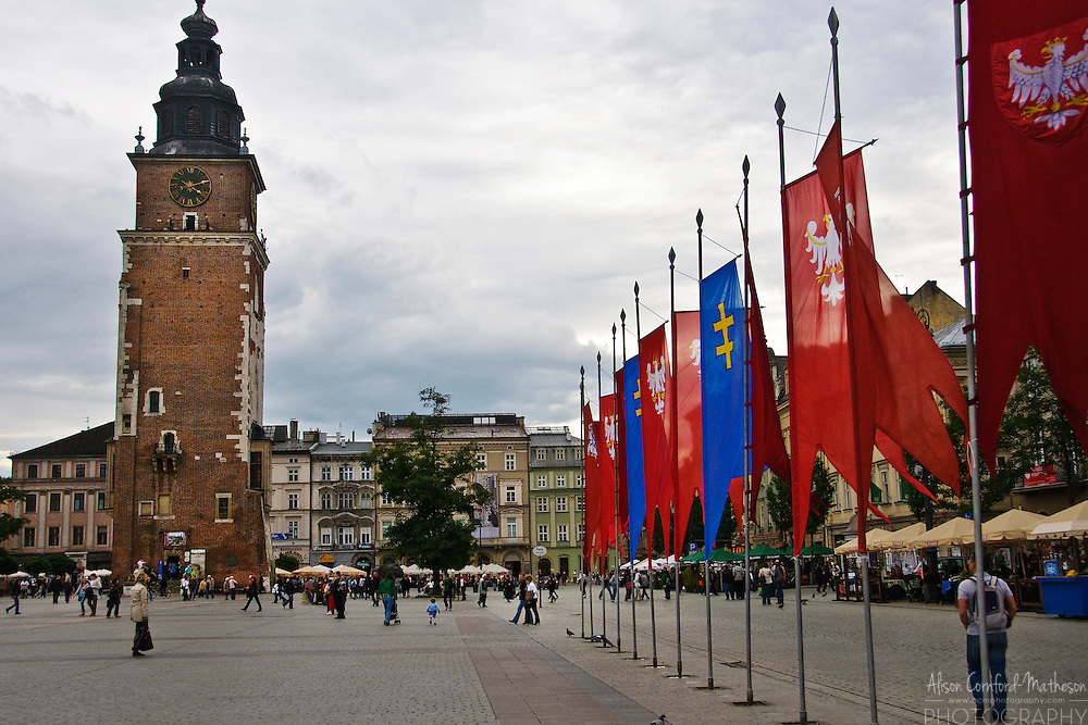 The Main Market Square in Kraków (Cracow), Poland is the largest medieval town square in Europe.