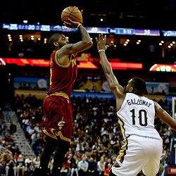 Jan 23, 2017; New Orleans, LA, USA; Cleveland Cavaliers guard Kyrie Irving (2) shoots over New Orleans Pelicans guard Langston Galloway (10) during the second quarter of a game at the Smoothie King Center. Mandatory Credit: Derick E. Hingle-USA TODAY Sports