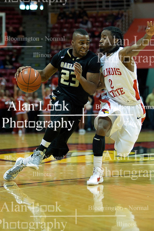 18 February 2012: Reggie Hamilton works in against Bryant Allen during an ESPN Bracketbuster mens basketball game Where the Oakland Golden Grizzlies lost to the Illinois State Redbirds 79-75 in Redbird Arena, Normal IL