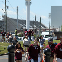 Mississippi State fans enter Dudy Noble Field for Friday's 2019 NCAA Starkville Regional where Mississippi State played Southern.