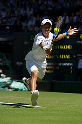 LONDON, ENGLAND - Tuesday, June 22, 2010: Kei Nishikori (JPN) during the Gentleman's Singles 1st Round match on day two of the Wimbledon Lawn Tennis Championships at the All England Lawn Tennis and Croquet Club. (Pic by David Rawcliffe/Propaganda)