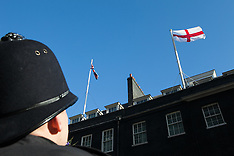 APR 23 2013 St George's day flag waving at number 10 Downing Street