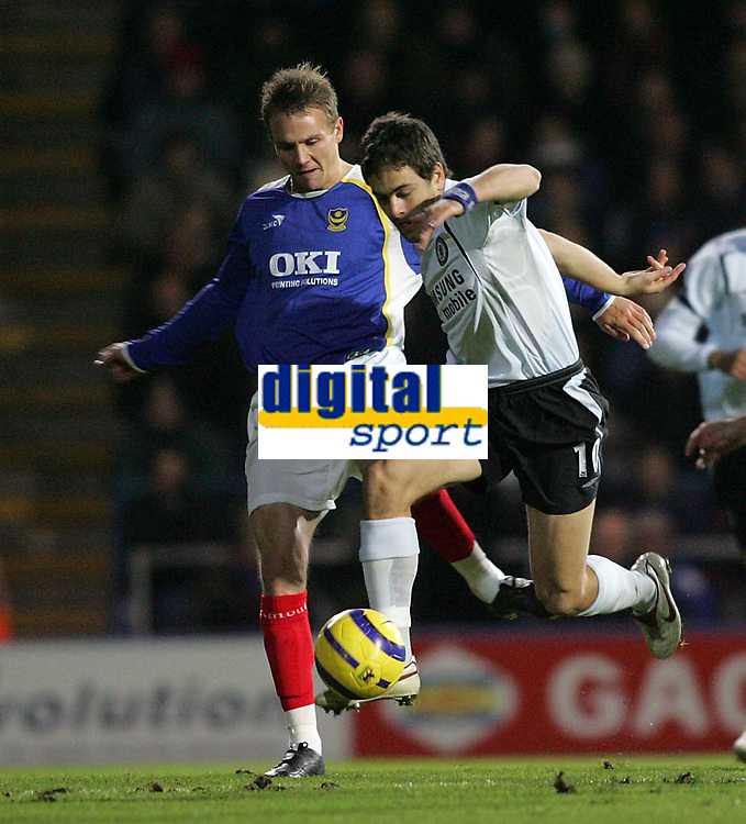 Photo: Lee Earle.<br /> Portsmouth v Chelsea. The Barclays Premiership.<br /> 26/11/2005. Chelsea's Jole Cole beats Matthew Taylor.