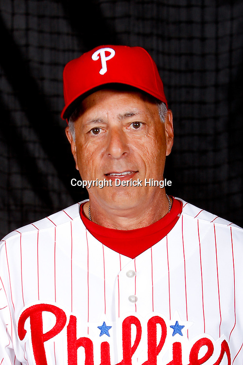February 22, 2011; Clearwater, FL, USA; Philadelphia Phillies first base coach Sam Perlozzo (2) poses during photo day at Bright House Networks Field. Mandatory Credit: Derick E. Hingle