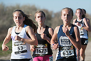 Girls Championship Race (Ember Stratton, Annie Hill, Lexy Halladay, Anna Gibson, Tiahna Vladic). Nike Cross Regionals Northwest, November 12, 2016 at Eagle Island State Park, Eagle, Idaho.