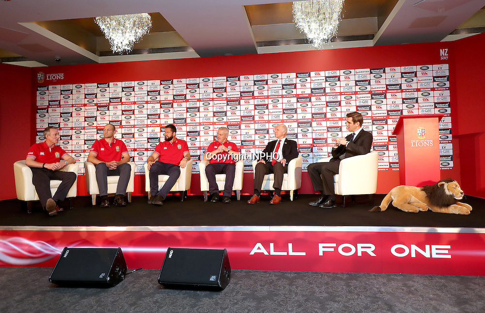 British &amp; Irish Lions Coaching Team Announcement for 2017 Tour to New Zealand, Carton House, Co. Kildare 6/12/2016<br /> WARREN GATLAND today announced the coaching team for the British &amp; Irish Lions 2017 Tour to New Zealand.<br /> Steve Borthwick (England), Andy Farrell (Ireland) and Rob Howley (Wales) will assist Gatland for the 10-game Tour next June and July.<br /> The trio will work with their respective countries for the RBS 6 Nations before joining the Lions ahead of the Squad Announcement on April 19, 2017. The Lions Management Team will be announced in early January.<br /> Pictured (L-R) Coaches Rob Howley, Steve Borthwick, Andy Farrell, Head Coach Warren Gatland, Manager John Spencer and Sky Television's Alex Payne<br /> Mandatory Credit &copy;INPHO/Dan Sheridan