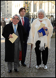 Ronnie Corbett (L) arrives at Westminster Abbey for the service to celebrate the life and work of Sir David Frost, Westminster Abbey, London, United Kingdom. Thursday, 13th March 2014. Picture by Andrew Parsons / i-Images