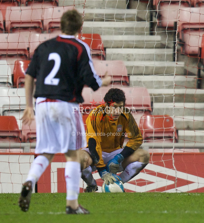 SUNDERLAND, ENGLAND - Wednesday, February 13, 2008: Liverpool's goalkeeper Dean Bouzanis looks dejected after Sunderland score the fourth goal during extra-time of the FA Youth Cup 5th Round match at the Stadium of Light. (Photo by David Rawcliffe/Propaganda)