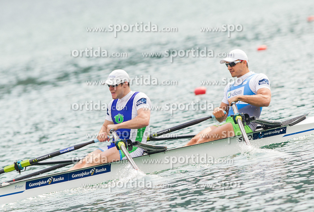 Matej Rojec and Gasper Fistravec compete during 54th Prvomajska Regatta Bled 2013, on April 21, 2013, at Lake Bled, Bled, Slovenia. (Photo By Vid Ponikvar / Sportida.com)