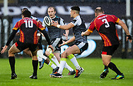 Tiaan Thomas-Wheeler of Ospreys gets the ball away<br /> <br /> Photographer Simon King/Replay Images<br /> <br /> Guinness PRO14 Round 6 - Ospreys v Southern Kings - Saturday 9th November 2019 - Liberty Stadium - Swansea<br /> <br /> World Copyright © Replay Images . All rights reserved. info@replayimages.co.uk - http://replayimages.co.uk