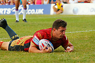 Greg Bird of  Catalans Dragons scores the try against Wakefield Trinity during the Betfred Super League match at Mobile Rocket Stadium, Wakefield<br /> Picture by Stephen Gaunt/Focus Images Ltd +447904 833202<br /> 07/07/2018